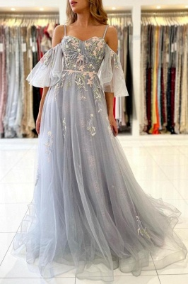Charming Off Shoulder Tulle Evening Gown Floral Party Dress