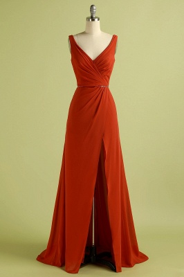 Orange Sleeveless V-Neck Bridesmaid Dress with Slit Backless Wedding Party Dress_4