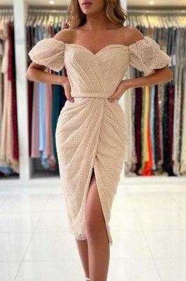 Off Shoulder Bubble Sleeves Sequins Beads Short Slim Formal Dress Mermaid Party Dress