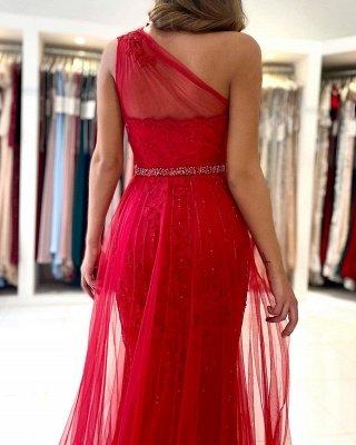 Stilvolles One-Shoulder-Tüll-Abendkleid mit Seitenschlitz_3