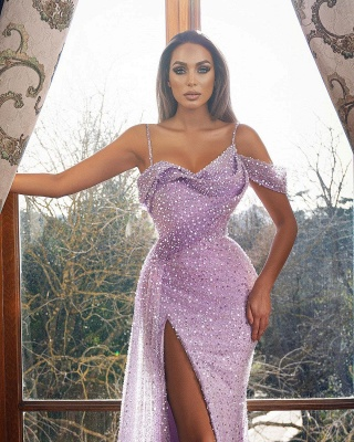 Sexy Off the Shoulder Straps Glitter Sequins Mermaid Evening Gown with Side Split_2