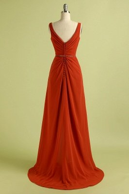 Orange Sleeveless V-Neck Bridesmaid Dress with Slit Backless Wedding Party Dress_5