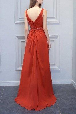 Orange Sleeveless V-Neck Bridesmaid Dress with Slit Backless Wedding Party Dress_2
