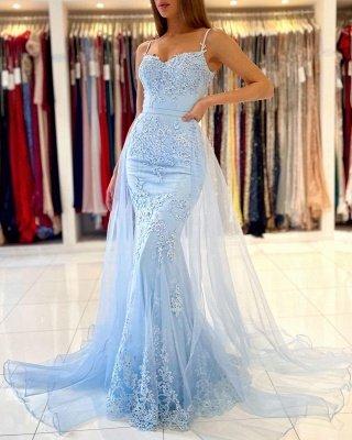 Vestido de noche de sirena de encaje con tirantes finos azul cielo con cola de tul desmontable_5