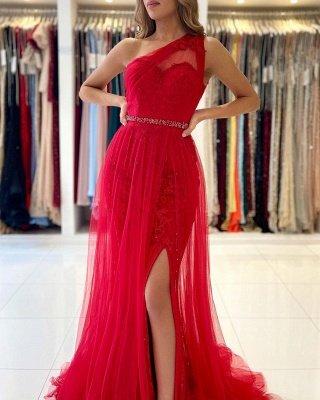 Stilvolles One-Shoulder-Tüll-Abendkleid mit Seitenschlitz_4
