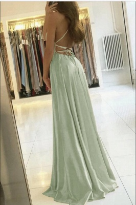 Charming Spaghetti Straps Satin Maxi Evening Dress with Side Slit  Sleeveless Gown_2