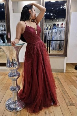 Sexy Burgundy Spaghetti Straps Tulle Evening Dress Lace Appliques