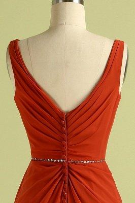 Orange Sleeveless V-Neck Bridesmaid Dress with Slit Backless Wedding Party Dress_7