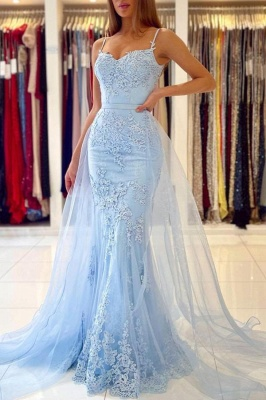 Sky Blue Spaghetti Straps Lace Mermaid Evening Dress with Tulle Detachable Train