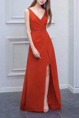 Orange Sleeveless V-Neck Bridesmaid Dress with Slit Backless Wedding Party Dress