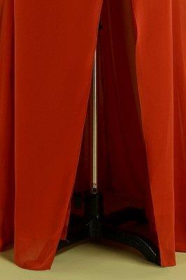 Orange Sleeveless V-Neck Bridesmaid Dress with Slit Backless Wedding Party Dress_8