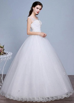 Ivory Wedding Dress Lace Sleeveless V Neck Rhinestones Beaded A-Line Floor Length Bridal Gown_2