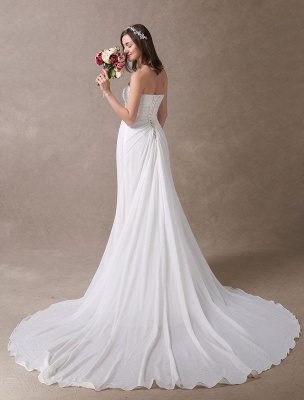 Beach Wedding Dresses Ivory Chiffon Strapless Lace Beaded Summer Bridal Gowns With Train Exclusive_5