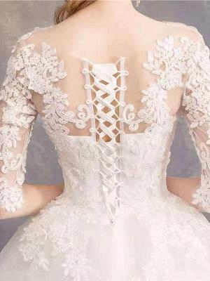 Robes de mariée Eric White Jewel Neck Half-Manches Soft Tulle Lace Up Floor Length Robes de mariée_8