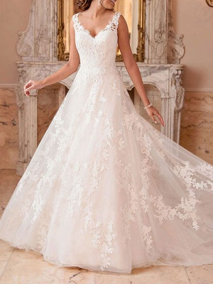 Wedding Dresses A Line V Neck Sleeveless Lace Illusion Back Bridal Gowns_3