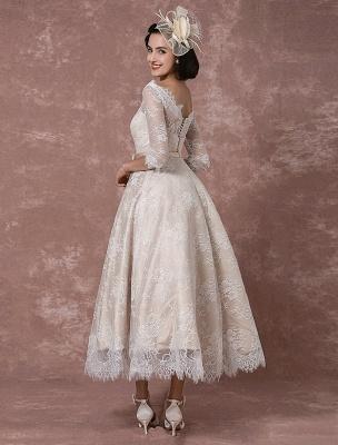 Lace Wedding Dress Vintage Bateau Champagne Half Sleeves Bridal Gown A Line Backless Tea Length Sash Reception Bridal Dress Exclusive_1
