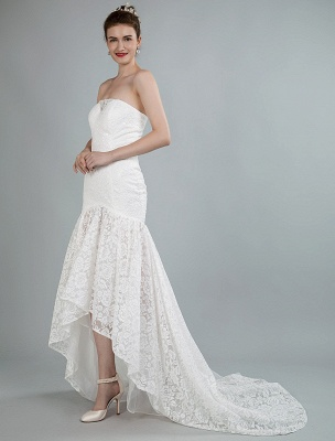 Einfache Brautkleider trägerlose ärmellose Spitze Meerjungfrau Brautkleider mit Zug_6
