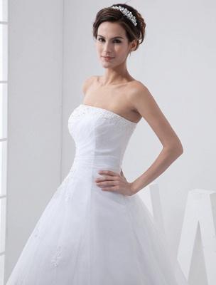 Robes de mariée blanches sans bretelles robe de mariée dentelle perles côté robe de mariée drapée avec train_6