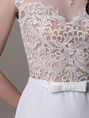 Vintage Wedding Dress Lace And Chiffon Sheath With Stunning Bateau Illusion Neckline And Illusion Back Exclusive_12
