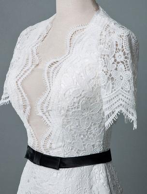 Einfache Brautkleider V-Ausschnitt Kurze Ärmel Mantel Knielang Vintage Brautkleider Exklusiv_6