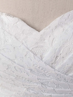 Meerjungfrau Brautkleid Weiß Spitze Fit And Flare Brautkleid Schatz Trägerlosen Zug Fischschwanz Brautkleid Mit Abnehmbarer Strass Schärpe_9