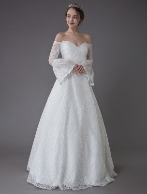 Princess Wedding Dresses Lace Off The Shoulder Long Sleeve A Line Floor Length Bridal Gown Exclusive_6
