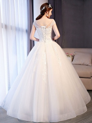 Princess Wedding Dresses Lace Beaded Ball Gowns Sleeveless Floor Length Bridal Dress_4