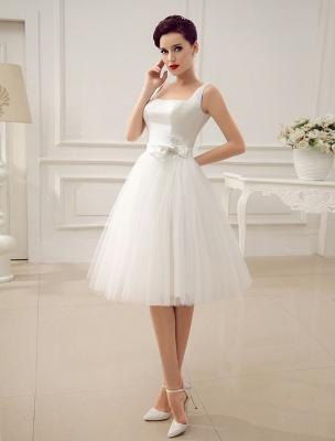 Simple Wedding Dresses Satin Square Neck Applique Short Bridal Dress With Beading Bow Sash Exclusive_2