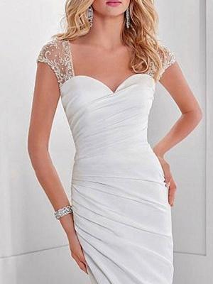 Einfache Brautkleid Lycra Spandex Schatz-Ausschnitt Kurze Ärmel Perlen Meerjungfrau Brautkleider_3