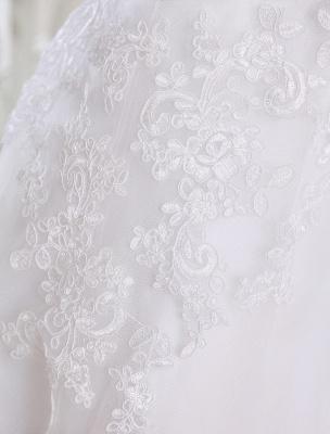 Einfache Brautkleider 2021 Kurze Spitze Applique Illusion Halbarm Tee Länge Brautkleid Exklusiv_6