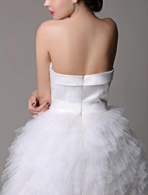 Robe de mariée courte en satin sans bretelles avec jupe fatiguée en tulle_8