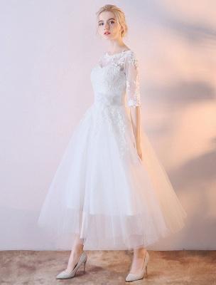 Vestidos de novia cortos Vestido de novia blanco con apliques de encaje de media manga hasta el té_3