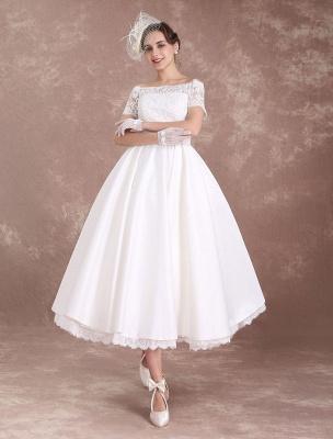 Vestidos de novia cortos Vestido de novia vintage Años 50 Bateau Encaje Manga corta Marfil Faja Hasta el té Vestido de recepción nupcial Exclusivo_1