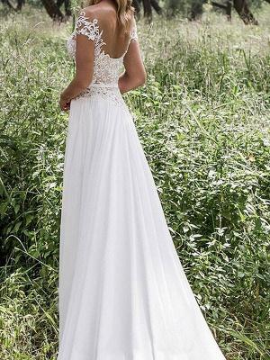 Robes de mariée Boho 2021 en mousseline de soie col en V profond à manches courtes en dentelle appliquée Split Front Beach Robes de mariée_2