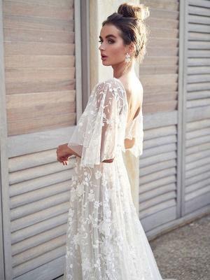 White Lace Wedding Dress V Neck A-Line Wedding Dress Short Sleeves Backless Bridal Dresses_2