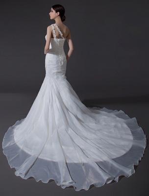 Ivory One-Shoulder Ruched Organza Mermaid Wedding Dress_4