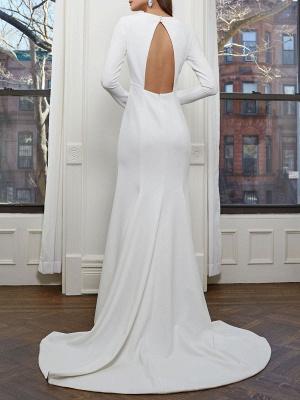 Einfache Brautkleider mit langen Ärmeln V-Ausschnitt Meerjungfrau-Hochzeitsfest-Kleid_5
