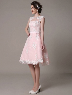 Lace Wedding Dress Cut Out Knee Length A-Line Bridal Dress With Satin Bow Exclusive_6