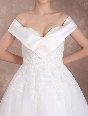 Vintage Wedding Dresses Off The Shoulder Short Bridal Dress 1950'S Lace Applique Beaded Tea Length Wedding Reception Dress Exclusive_8