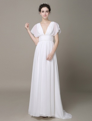 Plunging Chiffon Beach Wedding Dress A-Line Ivory V-Neck Pleated Belt Short Sleeves Bridal Dress With Court Train Exclusive_2