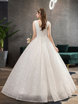 Ivory Wedding Dress Tulle Beaded V Neck Sleeveless Floor Length Princess Bridal Gown_4