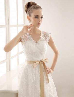 Ivory Simple Wedding Dresses 2021 Lace Applique V Neck Ribbon Sash Short Bridal Dress Exclusive_4
