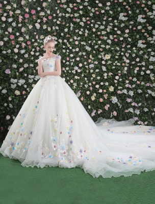 Flowers Quinceanera Dresses White Luxury Off The Shoulder Rhinestones Beading Short Sleeve Women'S Pageant Dresses With Train_3