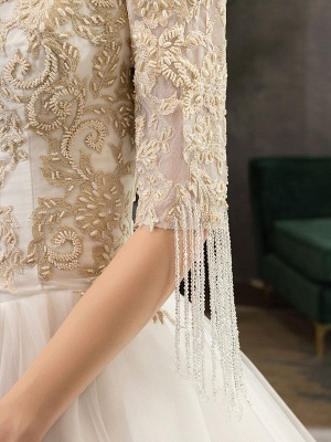Princess Wedding Dress Ivory Lace Appilque V Neck Half Sleeve Bridal Gown With Train_8