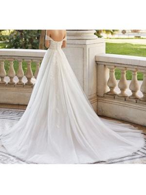 Brautkleid mit Zug V-Ausschnitt Ärmellos Schulterfrei Spitze Tüll Brautkleider_5