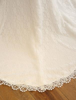 Brautkleider Meerjungfrau Elfenbein Spitze Schulterfrei Brautkleid Ketten Perlen Band Schleife Schärpe Slim Fit Brautkleid mit Zug_7