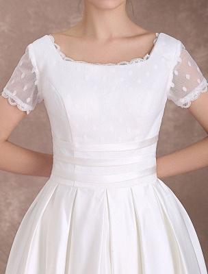 Vintage Wedding Dress Short Sleeve 1950'S Bridal Dress Backless Polka Dot Lace Trim Ivory Wedding Reception Dress Exclusive_9