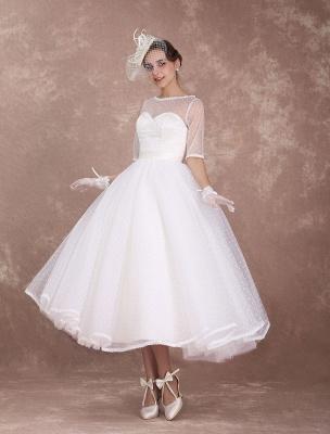 Vintage Brautkleid 50er Jahre kurzes Brautkleid Elfenbein rückenfrei Polka Dot halbe Ärmel Schatz Schleife Schärpe Weddig Empfangskleid exklusiv_1