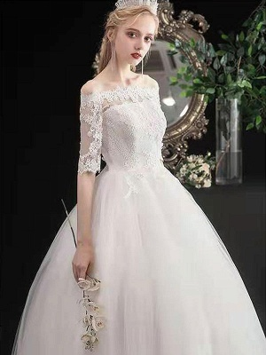 Stylish Wedding Dresses Eric White Off The Shoulder Half Sleeves Ball Gown Soft Tulle Lace Up Floor Length Bride Dresses_6