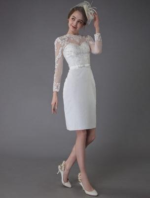 Vintage Brautkleider Jewel Langarm Etui Kurzes Brautkleid Exklusiv_6